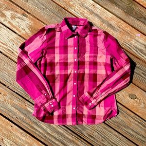 JCPenny Pink Plaid Button Down Shirt| Size S
